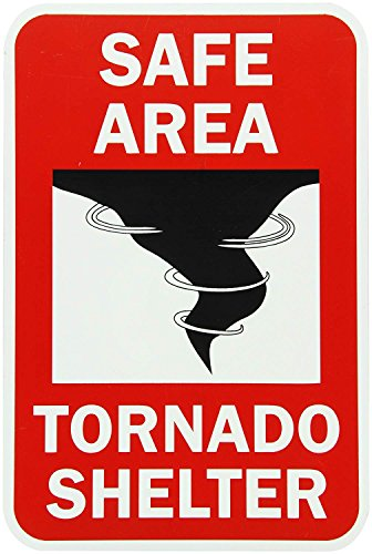 qidushop Garage Yard Zaun Schild nachleuchtend Schutzbereich Tornado Shelter Rot auf Schwarz Glow Mauer Home Dekoration Street Blechschild 30x 45cm