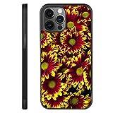 UZEUZA Funda de teléfono para iPhone 12 Pro Max, resistente a los golpes, con campo de flores, color negro