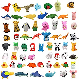 MAXZONE 62Pcs Animal Erasers Bulk Kids Pencil Erasers Puzzle Eraser Toys Mini Novelty Erasers for Party Favors, Classroom ...