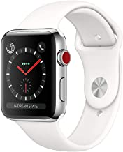 (Renewed) Apple Watch Series 3 (38MM, GPS + Cellular, Stainless Steel Case, White Sport Band)