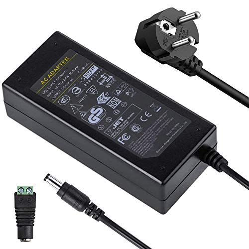 UltraBright AC/DC 12V 36/48/60/72 Watt EU Netzteil Adapter Trafo mit 5,5mm x 2,1mm DC Buchse Stecker Hohlsteckeradapter für SMD LED Beleuchtung Strip Streifen und CCTV usw. (12V 6A 72W)