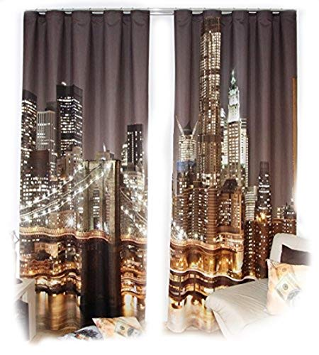 Rodnik Set di Tende New York City, 2 Tende con Effetto 3D (Larghezza 160 cm) x 250 cm (Lunghezza) – pronte da Appendere – con Nastro – 834-2 Curtain