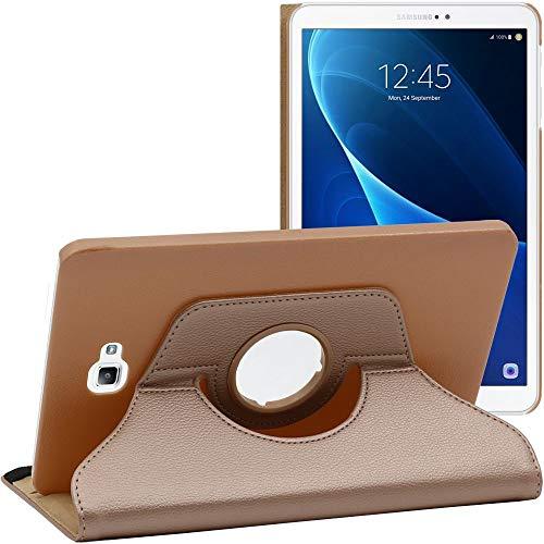 ebestStar - Funda Compatible con Samsung Galaxy Tab A6 A 10.1 (2018, 2016) T580 T585 Carcasa Cuero PU, Giratoria 360 Grados, Función de Soporte, Dorado [Aparato: 254.2 x 155.3 x 8.2mm, 10.1