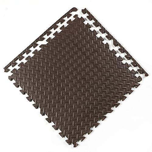 F-S-B 6 Tiles Puzzle Play Mat, tapetes de Espuma, EVA Interrocking Puzzle Ejercicio Mat para Entrenamientos de Equipos de Gimnasio, 60 * 60 * 2.5 cm,Marrón