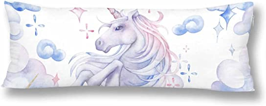 InterestPrint Cute Watercolor Unicorn in the Sky Body Pillow Covers Pillowcase with Zipper 21x60 Twin Sides, Fantasy Art Rectangle Body Pillow Case Protector for Home Couch Sofa Bedding Decorative