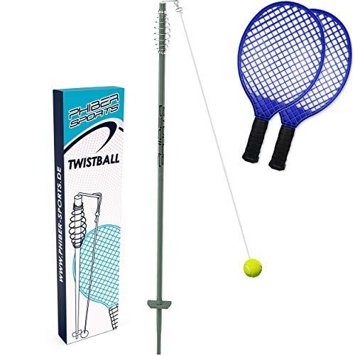 PHIBER-SPORTS Premium Swingball Set mit 2 ergonomischen Schlägern – Outdoor Twistball Spiel - Tennisball an Schnur für Kinder und Erwachsene - Langlebig Dank verbesserter Teile - Tennis, Ball