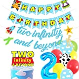 HEETON Two Infinity and Beyond Banner and Buzz Cake Topper Light year Toy Inspired Story 2nd Birthday Balloons Party Supplies Decorations Photo Prop for Girl Boy Baby Bday