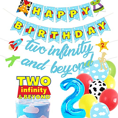 HEETON Two Infinity and Beyond Banner and Buzz Cake Topper Light year Toy Inspired Story 2nd Birthday Balloons Party…