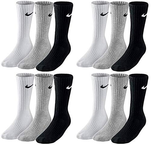 Nike SX4508 - Set di 12 paia di calzini da tennis da uomo e donna, per lo sport, colore bianco/ nero/ grigio Bianco, grigio, nero. 38-42