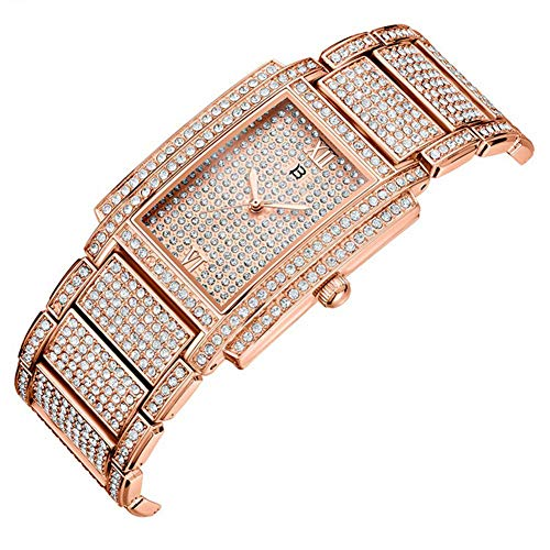 G&UWEI Metall-Armband-Quarz-Armband-Goldarmband-Kristall-Diamant-Golduhr Frauen-Mode Marmor-Edelstahl-Band Strass Quarz-Armbanduhr,Rosegold