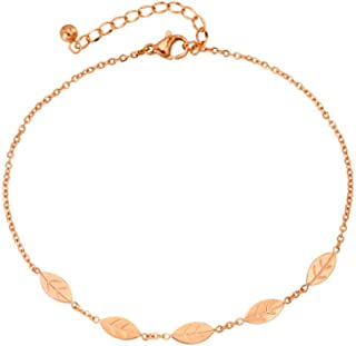 CXQ Fashion Simple Temperament Leaves Rose Gold Anklet Foot Ring Couple Jewelry Accessories Gift