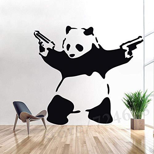 Adhesivos De Pared, Adhesivos De Decoración De Pared Calcomanías De Plantilla De Vinilo Lindo Panda Mural De Vinilo 57X74Cm