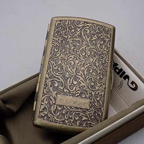 SXFYHXY Estuche de metal para cigarrillos retro de cobre, ultrafino, portátil, 12...