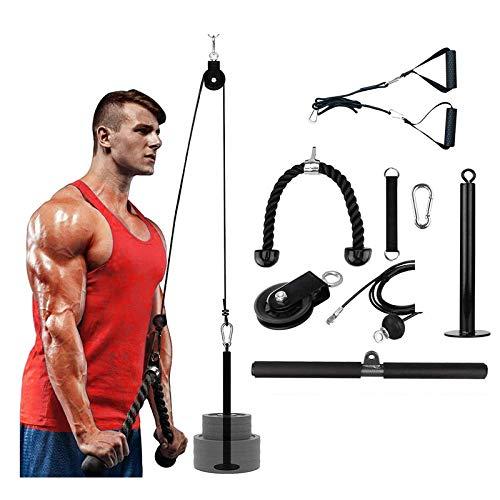Fitness LAT and Lift Polea System, Rodillo de muñeca Entrenador de Fuerza Entrenamiento de Brazos Extensiones de tríceps Ejercitador para LAT Pull Down, Biceps, Back, Body Training