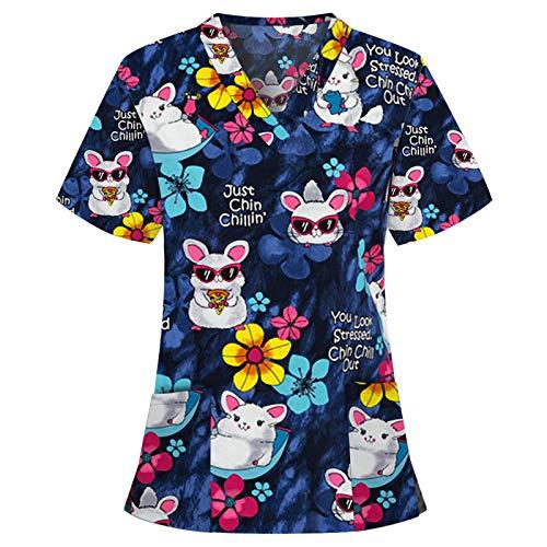Writtian Kasack Damen Pflege große größen mit Motiv Weihnachten T-Shirt Schlupfkasack mit Taschen Kurzarm V-Ausschnitt Schlupfhemd Berufskleidung Krankenpfleger Uniformen Nurse
