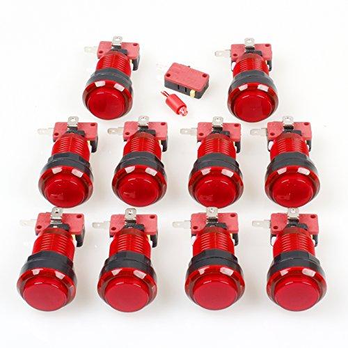 EG STARTS - 10 bottoni ad arco 30 mm, a LED, a colori pieni, con microfono, per Arcade macchina Mame Jamma PC, giochi multicade, pezzi (rosso)