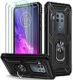 iVoler Cover per Motorola Moto One Zoom + 3 Pezzi Pellicola Vetro Temperato, Grado Militare Custodia Protezione con Anello Ruotabile Cavalletto, Antiurto TPU Bumper Case - Nero