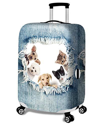 huateng 18-32 Pulgada Lavable Viaje Funda para Equipaje Divertido Cartoon 3D Denim Animal Elástico Trolley Protector de Maleta (Maleta no incluida)