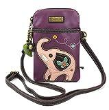Chala Crossbody Cell Phone Purse - Women PU Leather Multicolor Handbag with Adjustable Strap - Elephant - Purple