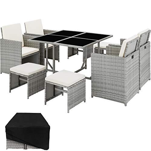 TecTake 800820 Conjunto Muebles de jardín de ratán sintético, Juego de Comedor 4+4+1 + Funda con Tornillos de Acero Inoxidable, Mobiliario de Exterior (Gris Claro)
