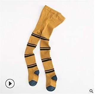 GLBS Child Stripe Pattern Girl Baby Tights Cotton Patchwork Lovely Newborn Tights Keep Warm Comfortable Baby Leggings for Age 1-7 Years (Color : Gold, Size : 5-7 Y)