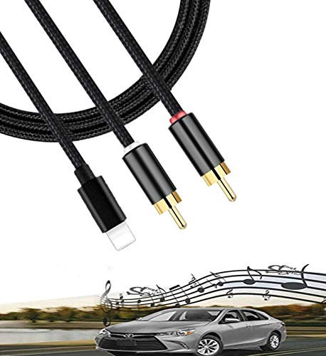 2 RCA Car Audio Aux in Cable, Stereo Y Splitter Adapter Compatible with Toyota Honda Infiniti Ford Audi Jeep Dodge Mazda Nissan KIA for IP Pod Pad, Nylon Braided, 3.75FT