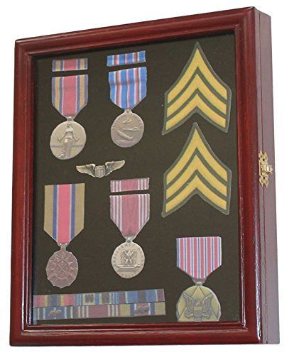 Display Case Cabinet Shadow Box for Military Medals, Pins, Patches, Insignia, Ribbons, (Cherry Finish)