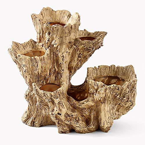 Roxnic Simulación Raíz de árbol Contenedor de Flores Tronco Tocón Creativo Uso Personal Resina Carnicero Elegante Maceta para Interiores/Exteriores Uso de árboles Paisaje Jardinera con Drenaje Hogar