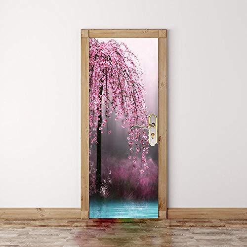 Door Stickers For Interior Doors 3D,Plant Pink Flower Tree Decorative Wall For Door Natural Landscape Quote Stickers Waterproof Vinyl Self Stick Diy Living Room Bathroom Door Posters-77X200Cm