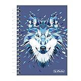 Herlitz 50027262 - Cuaderno de notas con tapa intercambiable, A4, 2 x 40 hojas, diseño de lobo, color zorro Notizbuch