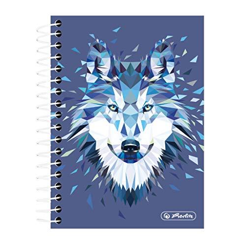 herlitz 50027859 Spiralnotizblock, 200 Blatt, kariert, Motiv: Wild Animals Wolf, 1 Stück