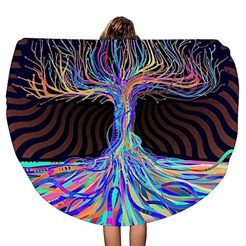Treen and Roots Tie Dye Color Grueso Redondo Toalla de Playa Manta Throw Mandala Microfiber Bohemian Circle Style Oversized Extra Large Yoga Mat Cubierta de Mesa