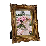 4x6 Vintage Gold Picture Frame with Glass Front, 4 by 6 Ornate Antique Wedding Picture Frame for Bedroom, Living Room, Office, Displays Horizontally or Vertically On Tabletop