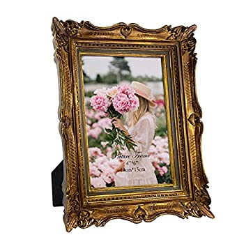 4x6 Vintage Gold Picture Frame with Glass Front 4 by 6 Ornate Antique Wedding Picture Frame for Bedroom Living Room Office Displays Horizontally or Vertically On Tabletop