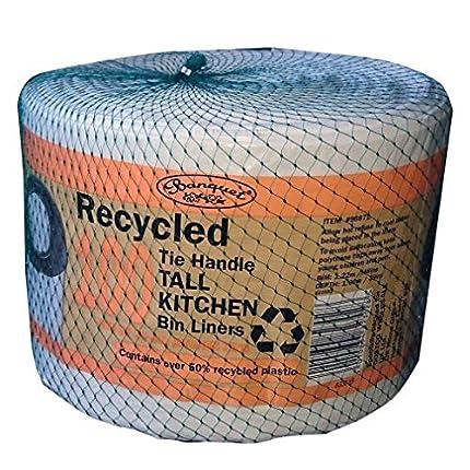 Banquet Reciclado 100 Bolsas de basura de cocina altos con asa de corbata, color blanco