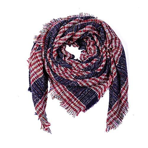 Farbige Streifen Imitation Cashmere Warmer Schal Fashion Set 130-130 Tibetan Red