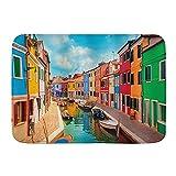 WOTAKA Alfombra de baño,Venecia Coloridos Edificios y Canal de Agua con Barcos Isla de Burano en la Laguna de Venecia,Estera de la Puerta de la Estera del baño Antideslizante Engrosada Absorbente