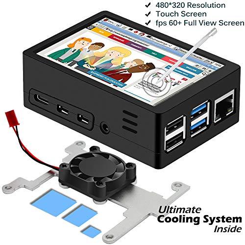 iuniker Raspberry Pi 4 Touch Screen mit Gehäuse, Raspberry Pi 4 3,5 Zoll Display Bildschirm Monitor mit Kühlkörper und Lüfter Gehäuse, 60 fps Monitor mit 480 x 320 Auflösung Bessere Wärme Ableitung