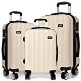 Kono 3 Pcs Luggage Set Hard Shell Suitcase Light Weight ABS 4 Spinner Wheels Business Trip Trolley Case 20/24/28 Inch (Beige Set)