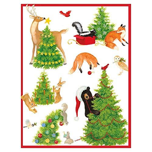 Caspari Woodland Christmas Boxed Christmas Cards - 16 Cards & Envelopes