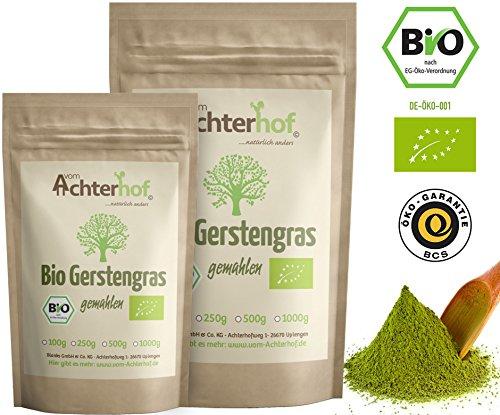 Gerstengras Pulver BIO (500g) | Rohkostqualität | 100% Gerstengraspulver | Rückstandskontrolliert | vom-Achterhof