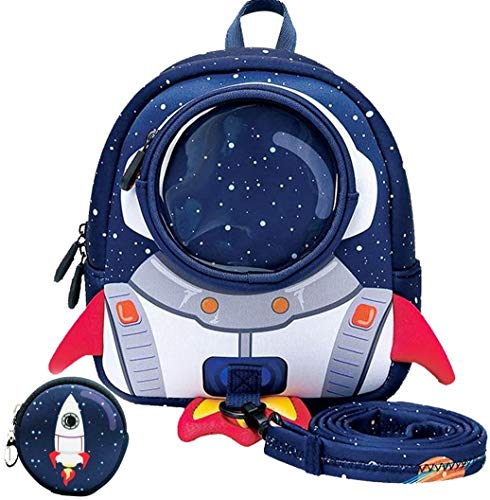 HTTER Kids Dinosaur Backpack,Toddler for Nursery/Travel/Kindergarten,Cartoon Boys Girls Dinosaur Rucksack,Age 2-7(Dinosaur-Green),Rocket-blue(3-6 Years)