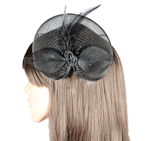 Black Fascinator Ideal for the Races Wedding Prom Party by Cherry-on-Top