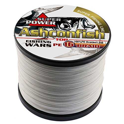 Ashconfish Braided Fishing Line -16 Strands Hollow Core Fishing Wire 100M/109Yards 100LB White