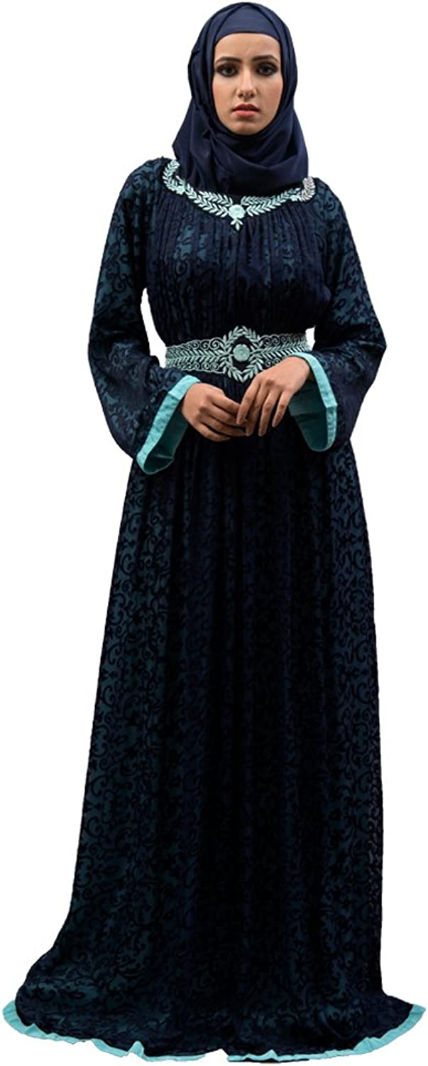 Kolkozy Fashion Women's Style Thread Work Abaya bluee