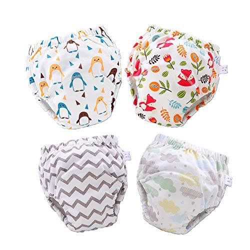 Morbuy 4er Pack Baby Lernwindel Trainerhosen Unterwäsche Windeln Windelhose zum Toilettentraining Töpfchentraining Kleinkind Töpfchen Klingelhose Waschbare Lernwinde (L: 100,F)