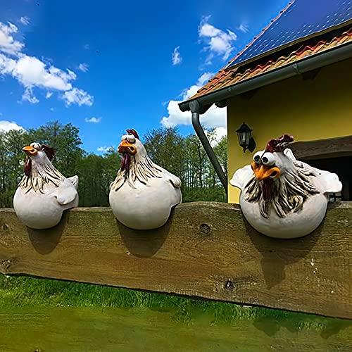 D-Rings Keramik Huhn Gartendeko Hühner Deko Garten Statuen Outdoor-Dekoration Huhn Ornament Gartenstatue Dekorative Gartenfigur Henne Huhn Gartenstecker Hinterhof Dekorationen