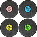 com-four® 4x sets de table en vinyl design vinyle, sets de table en bleu, vert, jaune et rose, Ø 39,5 cm (04 pièces - record)