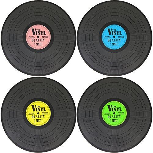 com-four® 4x tovagliette a forma di vinile - tovagliette con design vintage in blu, verde, giallo e rosa, Ø 39,5 cm (04 pezzi - registrazione)