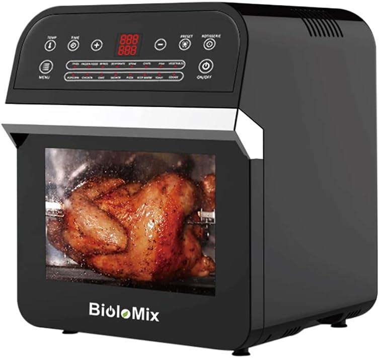 BioloMix Freidora de Aire sin Aceite 12L Horno de Aire Caliente con 16 Programas, Pantalla LED Táctil, Freidora de Aire Caliente con 7 Accesorios Gratis, 1600W,Negro